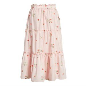 RACHEL PARCELL Strawberry Print Tiered Skirt